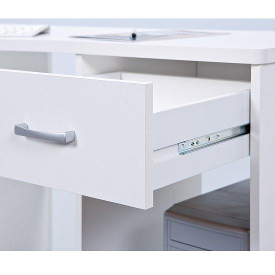 Halifax Corner Computer Desk In White With Drawer And Shelves_3