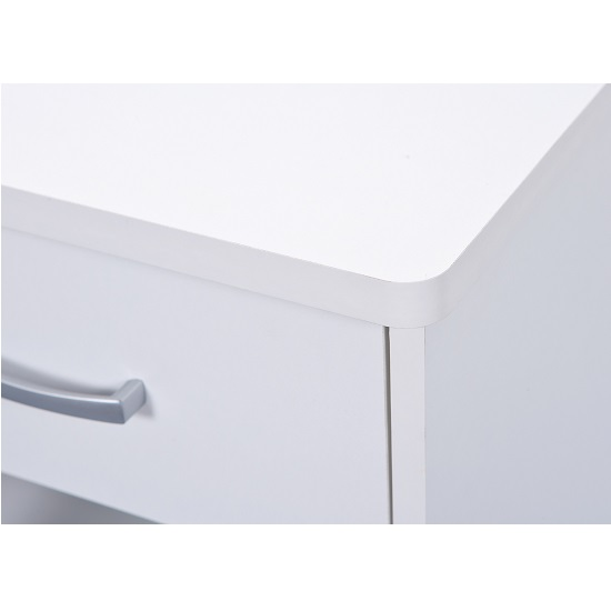 Halifax Corner Computer Desk In White With Drawer And Shelves_4
