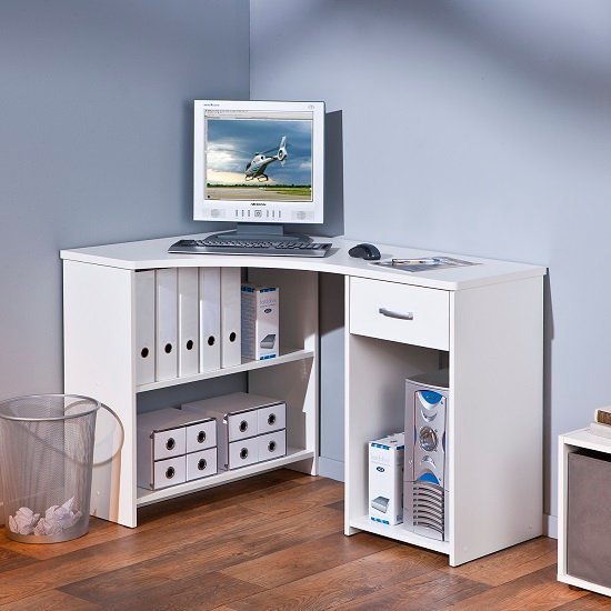 Halifax Corner Computer Desk In White With Drawer And