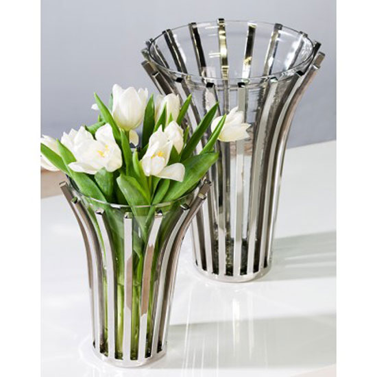 Atlanta Glass Vase in Silver Shiny Stainless Steel