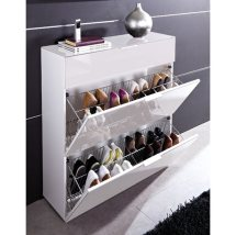 Corner bathroom cabinets white gloss - Furniture Shoe Storage Cabinets Primera White 3 Drawer Shoe Cabinet