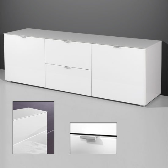 Primera Low TV Sideboard In White Glass With 2 Doors