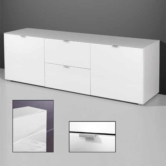 Primera Low TV Sideboard In White Glass With 2 Doors 10887