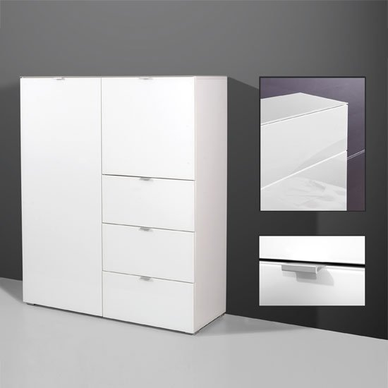 Primera Tall Sideboard In White Glass With 2 Doors And 3