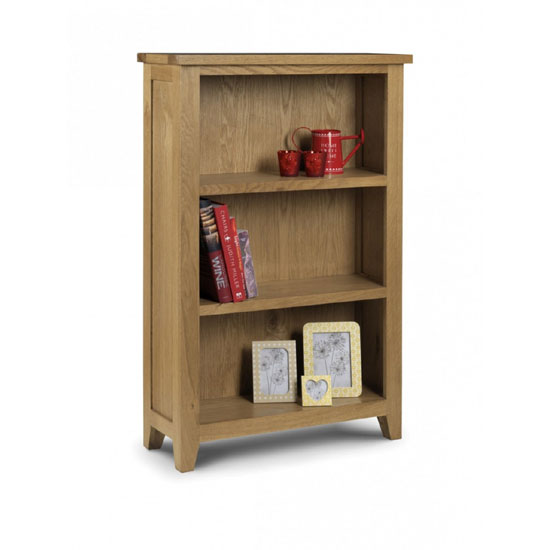 Raven Wooden Small Bookcase In Oak Finish With 3 Shelf