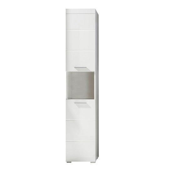 Amanda Tall Bathroom Cabinet In White With High gloss Fronts