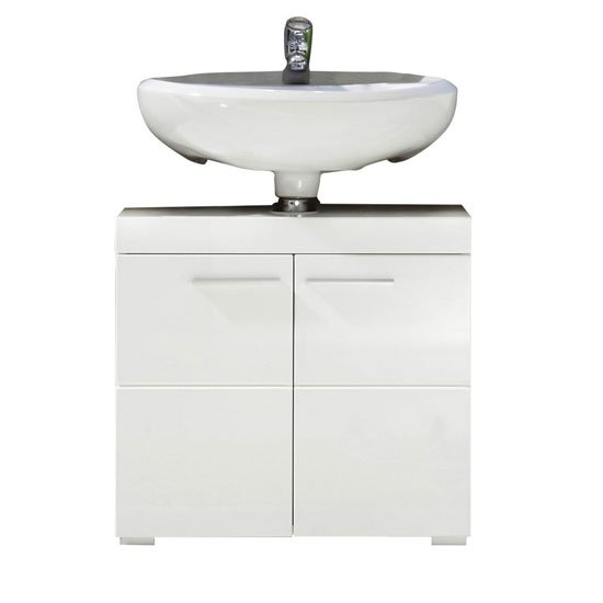 Amanda Vanity Cabinet In White With High Gloss Fronts And 2 Door