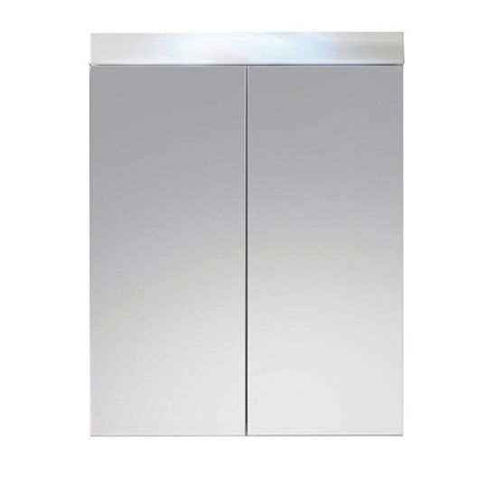 Amanda Wall Mounted Mirror Cabinet In White And High Gloss