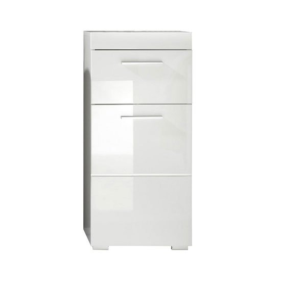 Amanda Bathroom Storage Cabinet In White With High Gloss Fronts