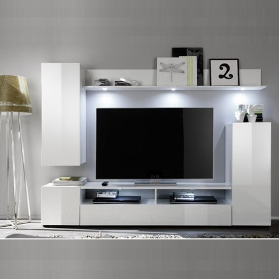 Delta Living Room Furniture Set 1 In White High Gloss 24173