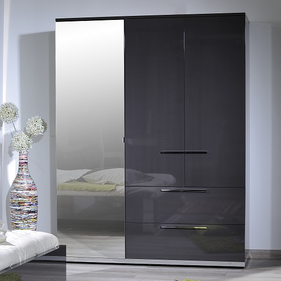 Sinatra Grey High Gloss Finish 3 Door Wardrobe With Mirror