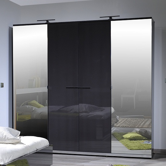 Sinatra Grey High Gloss Finish 4 Door Wardrobe With 2 Mirror