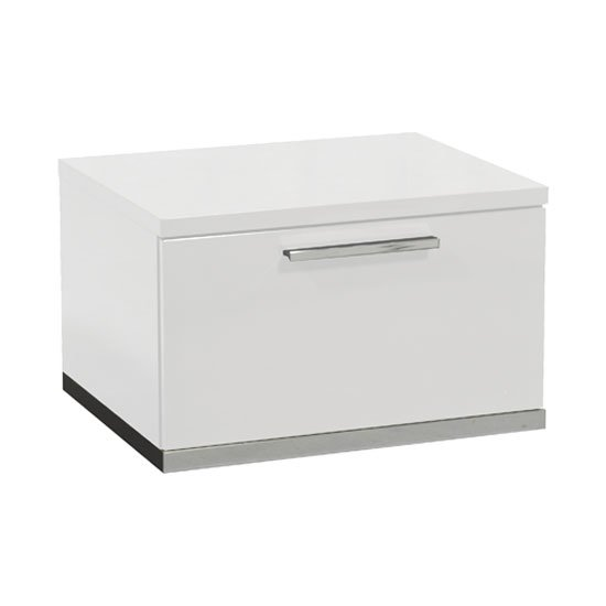 Sinatra Bedside Cabinet In White High Gloss With 1 Drawer