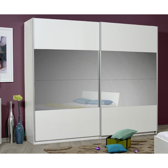 Optimus White 2 Door Sliding Wardrobe With Grey Glass In Middle