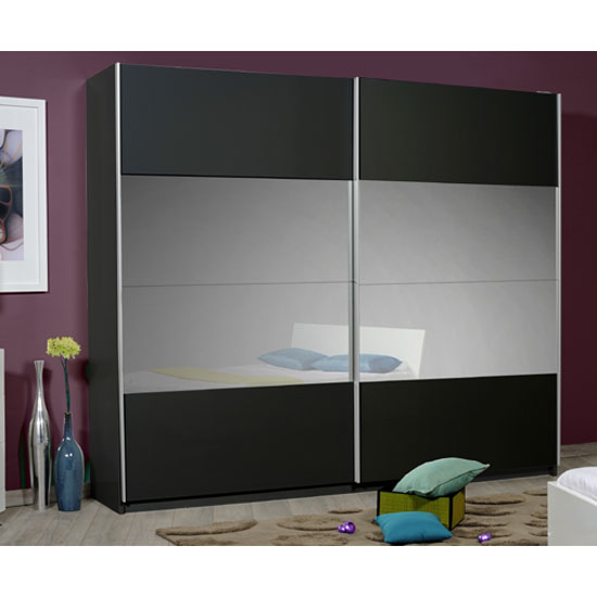 Optimus Black 2 Door Sliding Wardrobe With Grey Glass In