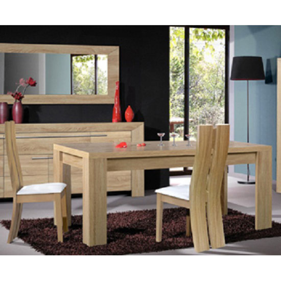 Lucena light oak finish dining table and 6 dining chairs 226 for Light oak dining furniture