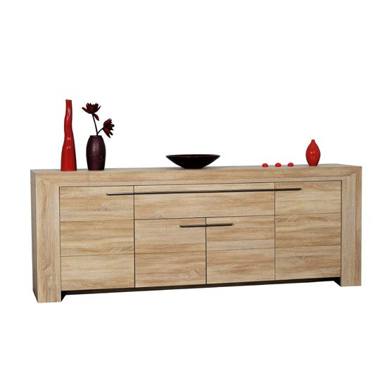 Lucena Light Oak Finish 4 Door Sideboard With 1 Drawer