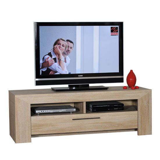 Lucena Light Oak Finish LCD TV Stand With 2 Shelf And Drawer