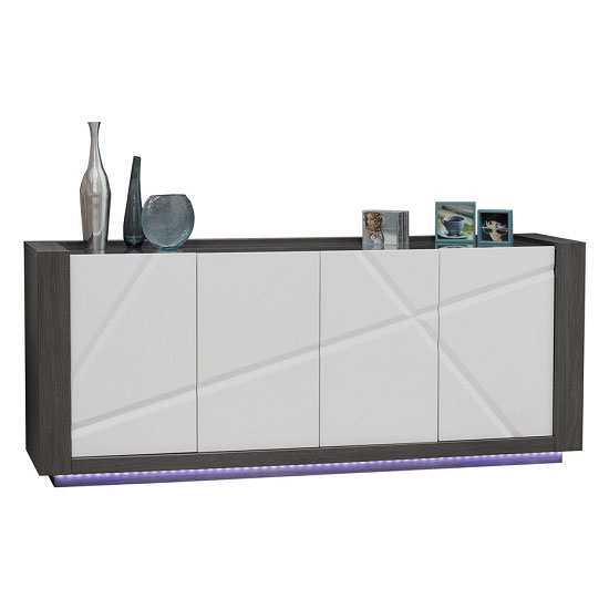 Quatro Glass Top Wooden Sideboard With 4 Doors