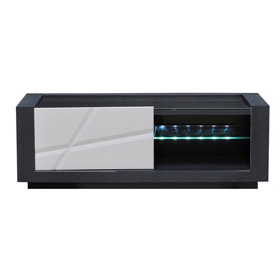Quatro Dark Gray Wooden Small TV Stand With LED Light