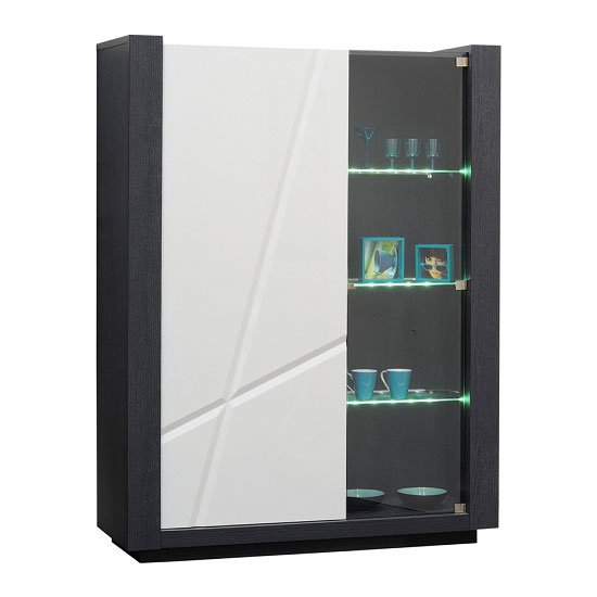 Quatro White Gloss Display Cabinet With LED Light And Glass Door