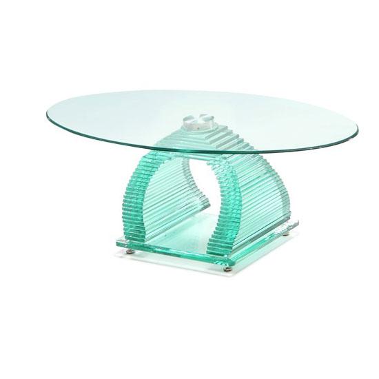 Iceman Oval Glass Coffee Table