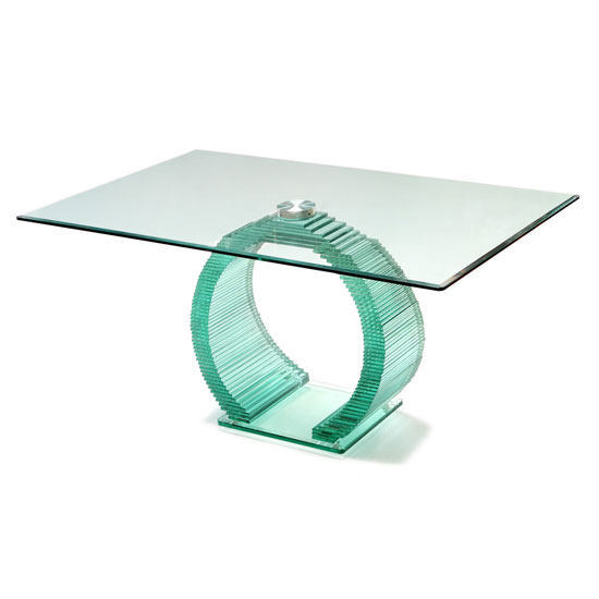 Iceman Dining Table In All Glass With Chrome Support