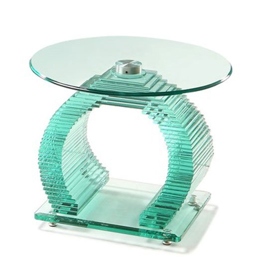 Iceman End Table Circular In All Glass With Chrome Support