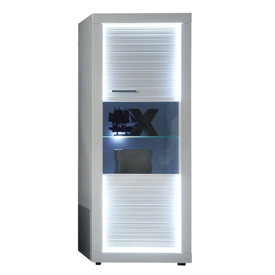 Starlight Display Cabinet In White High Gloss With LED Lighting
