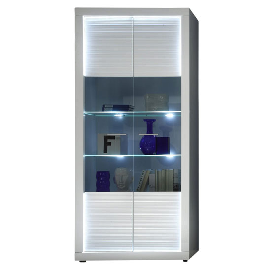Starlight Display Cabinet Wide In White High Gloss With LED
