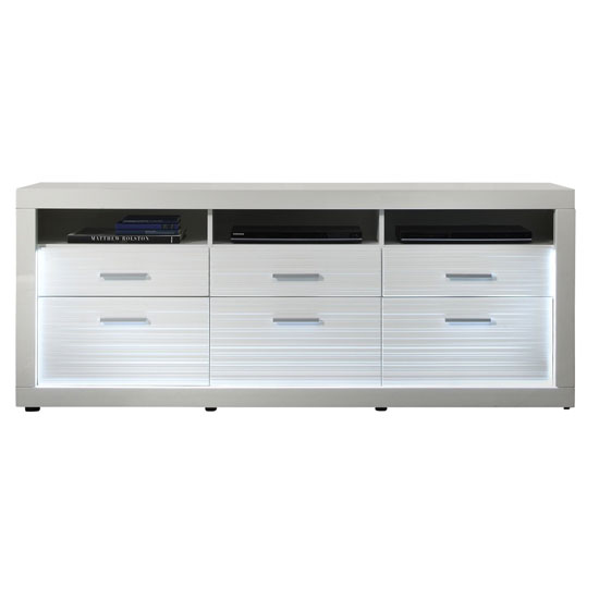 Starlight TV Sideboard In White High Gloss With 3 Drawers # Rotes Tv Sideboard