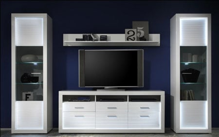 Starlight TV Sideboard In White High Gloss With 3 Drawers