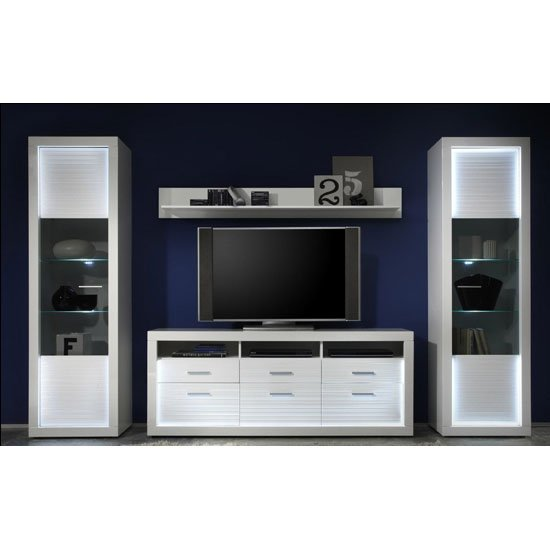 Starlight Living Room Furniture Set 2 In White Gloss With LED