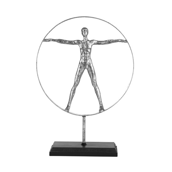 Mason Man Sculpture In Silver With Black Base