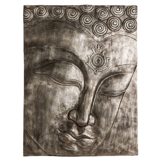 Francesca Buddha Wall Plaque Large In Antique Silver Finish