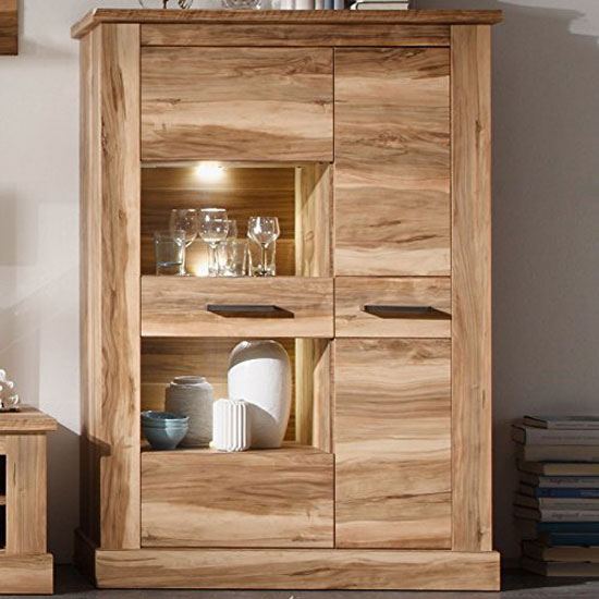 Montreal Display Cabinet In Walnut Satin With 2 Door And LED