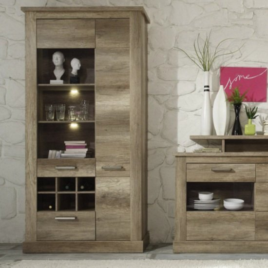 Montreal Display Cabinet In Monument Canyon Oak With LED Light