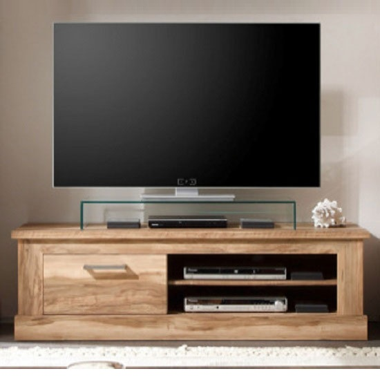 Montreal Wooden TV Stand In Walnut Satin With 1 Drawer