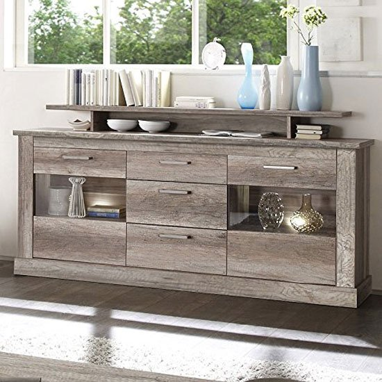 Montreal Sideboard In Monument Canyon Oak With 2 Door And LED