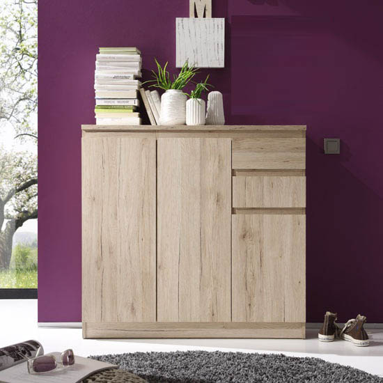 Armadio Oak Finish 3 Door Sideboard With 2 Drawers