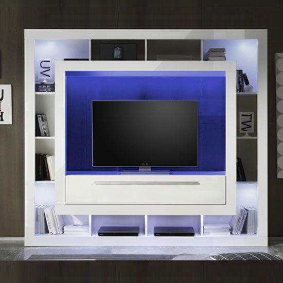 Medox LCD TV Stand In Gloss White With Shelving Unit And LEDs