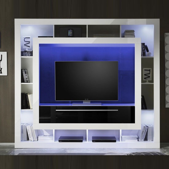 Medox LCD TV Stand In High Gloss White With Shelving Unit