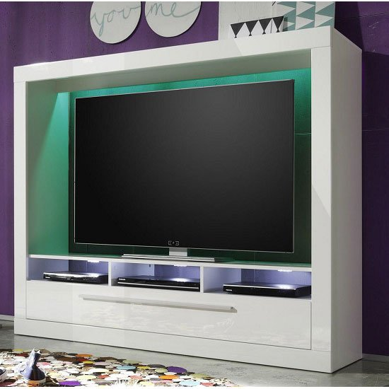 Melody Lcd Tv Stand In Gloss White With 1 Drawer And Led Lig