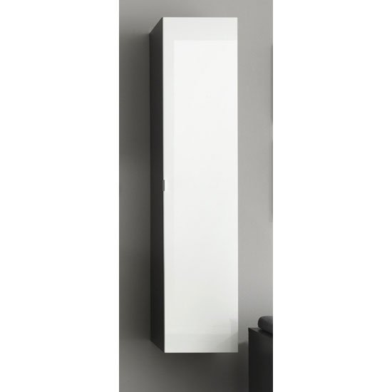 Beach Wall Mount Tall Grey Bathroom Cabinet In White Gloss Door