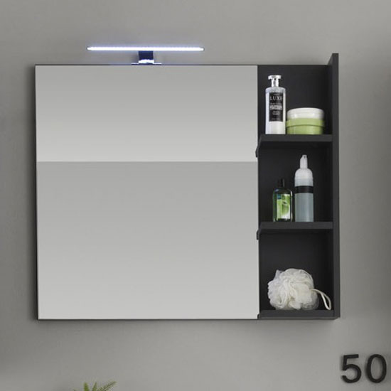 Beach Wall Mirror With Shelves In Grey With Lighting