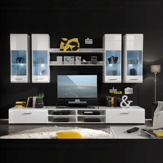 Read more about Shot living room furniture set in white gloss with led light