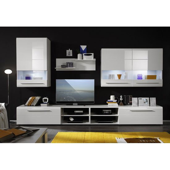 Day living room furniture set in white high gloss with led for Living room unit sets
