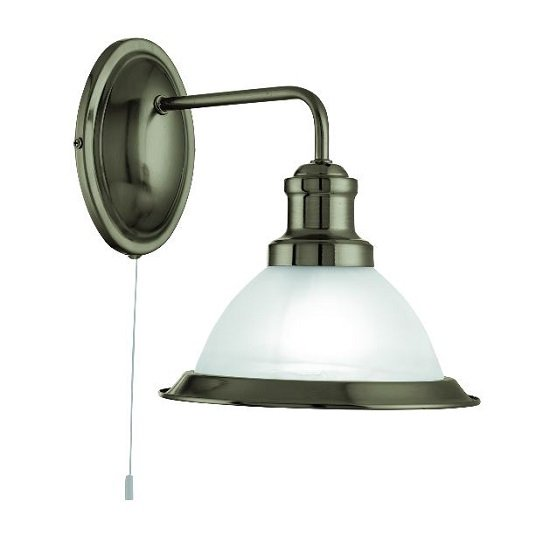 Bistro Acid Glass Shade Wall Light In Antique Brass Finish
