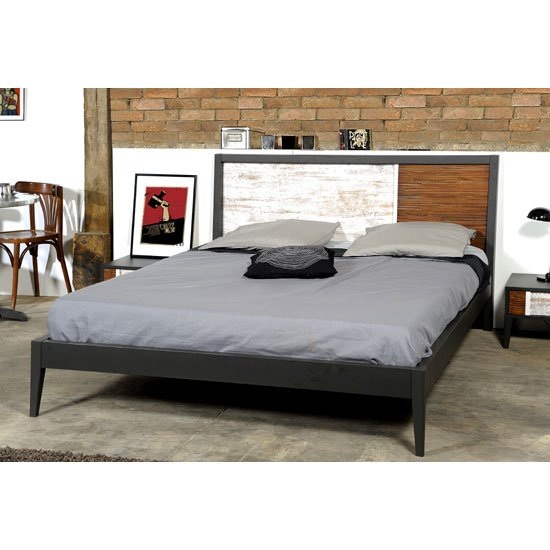 Cappolo Wooden Oak Double Bed With Black Finish Panels