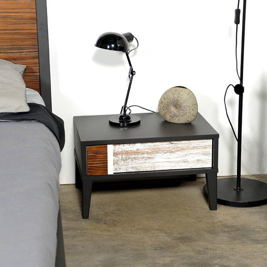 Read more about Cappolo wooden oak 1 drawer bedside cabinet with black panels